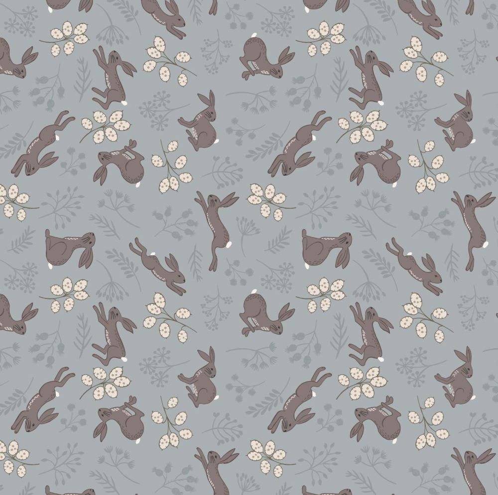 The Water Meadow Hare Grey Botanical  British Wildlife Countryside Cotton F