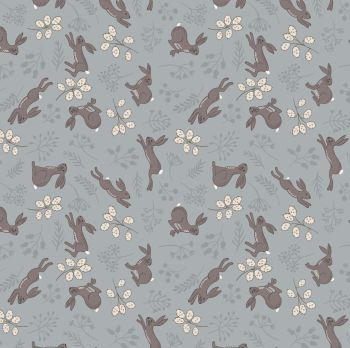 The Water Meadow Hare Grey Botanical  British Wildlife Countryside Cotton Fabric
