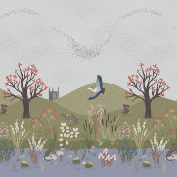 The Water Meadow Down By The River Bank Kingfisher Otter Heron British Birds Wildlife Countryside Double Border Panel Cotton Fabric