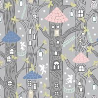 Fairy Lights Fairy Houses Tree Owl Fairies House Glow in the Dark GID Trees Woodland Cotton Fabric