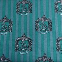 Harry Potter Hogwarts Slytherin House Crest Snake Magical Wizard Witch Cotton Fabric
