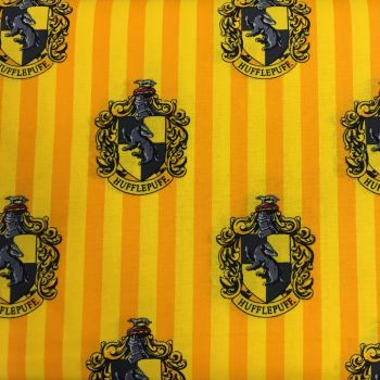 Harry Potter Hogwarts Hufflepuff House Crest Badger Magical Wizard Witch Cotton Fabric