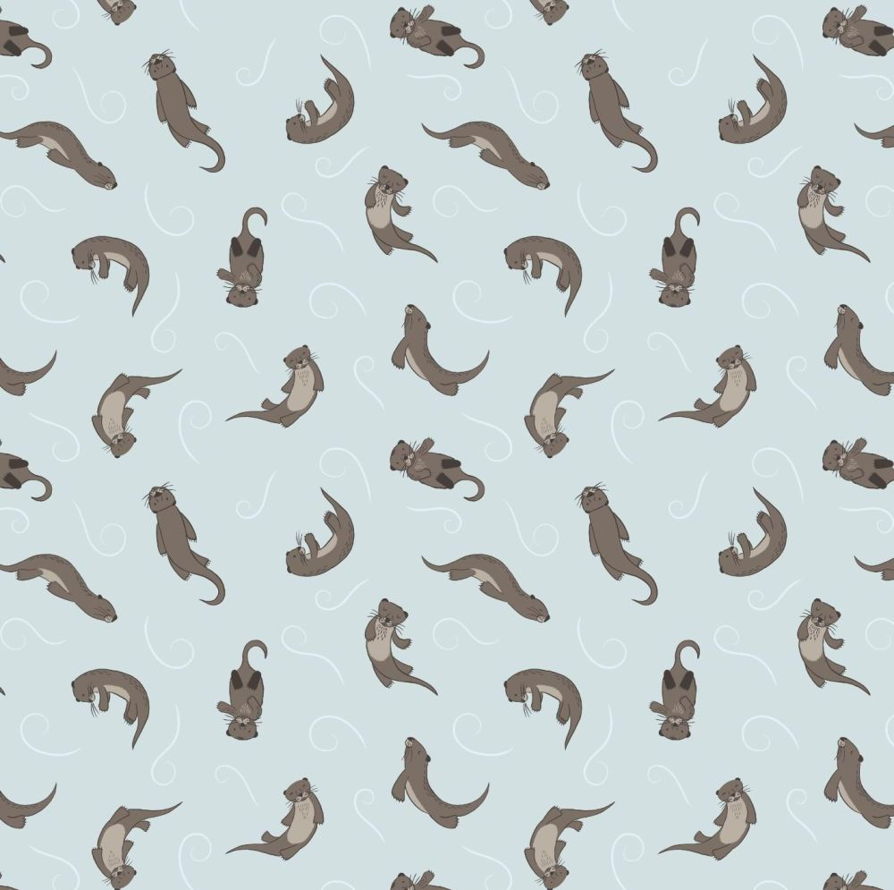 Small Things Country Creatures Otter Light Blue Otters Cotton Fabric
