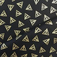 Harry Potter Deathly Hallows Logo Metallic Gold Hogwarts Magical Wizard Witch Cotton Fabric