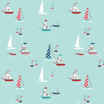 Seaside Boats Aqua Sailboat Sailing Nautical Cotton Fabric