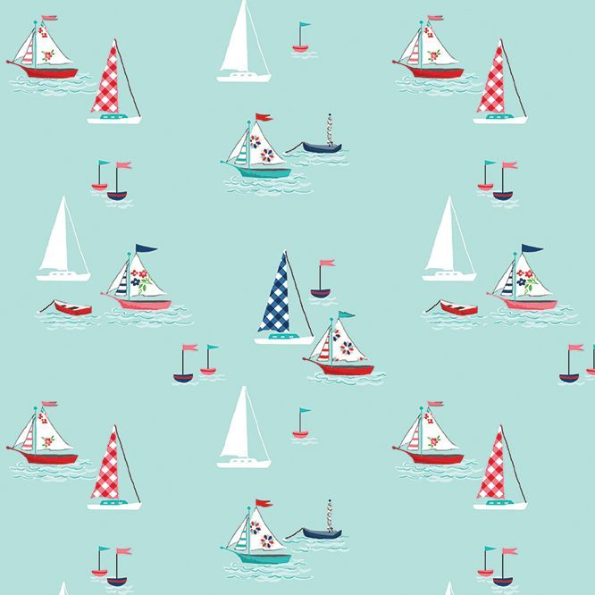 Seaside Boats Sailboat Sailing Nautical Cotton Fabric