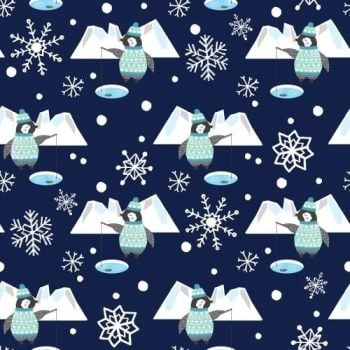 Snow Happy Fishing Penguins Navy Snowflake Novelty Christmas Festive Cotton Fabric