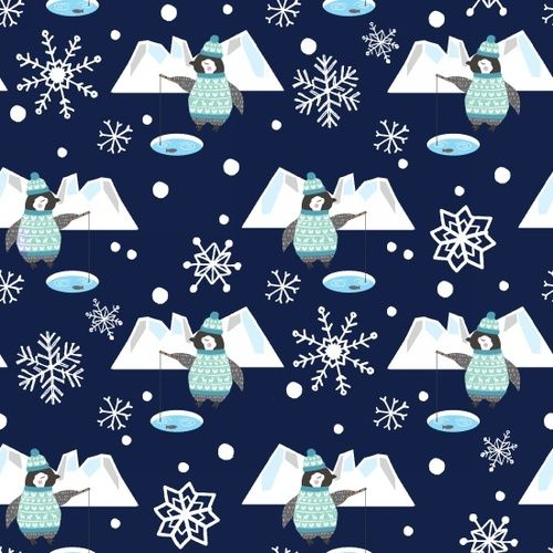Snow Happy Fishing Penguins Navy Snowflake Novelty Christmas Festive Cotton