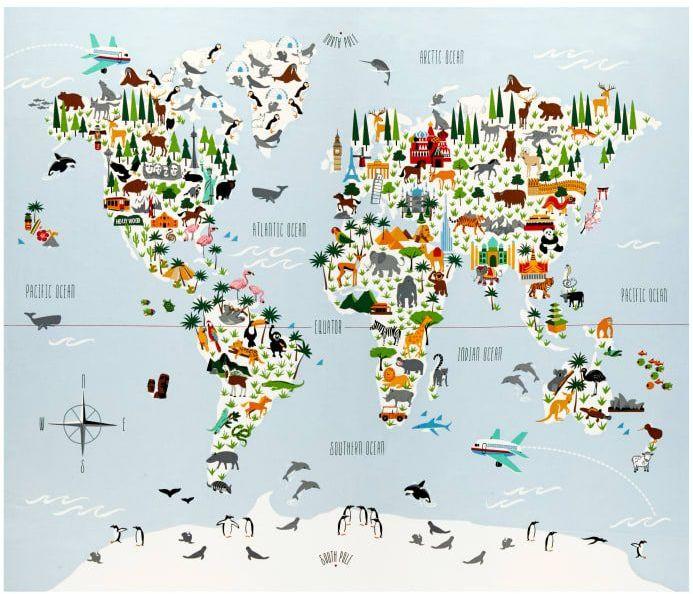 Little Explorers World Map DIY Quilt Panel Animal Atlas Animals Tiger Pengu