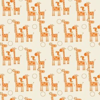 REMNANT Giraffes Toucan Orange Giraffe Crossing Safari Cotton Fabric