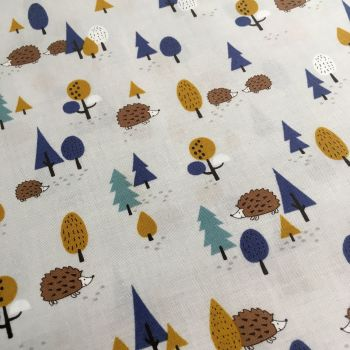 Hedgehogs in the Forest on Grey Kawaii Hedgehog Trees Woodland British Wildlife Navy Mustard Cotton Fabric