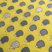 Hedgehogs on Yellow Kawaii Grey Hedgehog Woodland British Wildlife Cotton Fabric