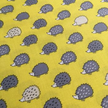 Hedgehogs on Yellow Kawaii Grey Hedgehog Woodland British Wildlife Cotton Fabric