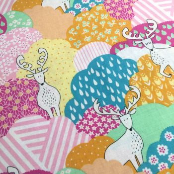Forest Delight Elk Eden Stag Patchwork Deer Forest Kawaii Cotton Fabric