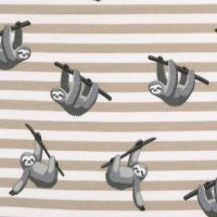 Sloth Sleepy Sloths Grey on Beige Stripes Stretch Cotton Jersey Knit Fabric