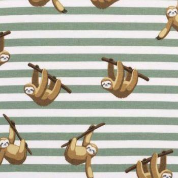 Sloth Sleepy Sloths on Sage Green Stripes Stretch Cotton Jersey Knit Fabric