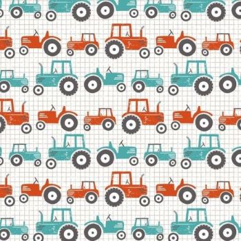 Wildflower Farm Tractors Farmyard Barnyard Tractor Cotton Fabric