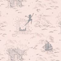 Peter Pan Second Star to the Right Blush Scenic Window Tinkerbell Sarah Jane Nursery Cotton Fabric