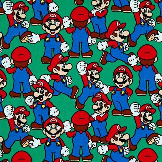Nintendo Super Mario Packed Character Game Gamers Video Game Cotton Fabric