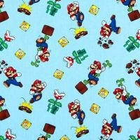 Nintendo Super Mario Toss Light Blue Character Game Gamers Video Game Cotton Fabric