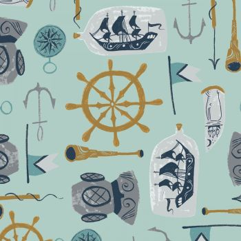 Aweigh North Sea Supplies Harbor Anchor Nautical Ship Telescope Dear Stella Cotton Fabric