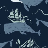 Aweigh North Whale Ships Whales Nautical Flag Sail Sailing Ship Dear Stella Cotton Fabric