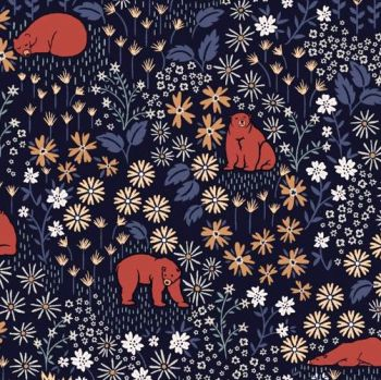 Bear With Me Gargoyle Bears Floral Woodland Botanical Flowers Dear Stella Cotton Fabric