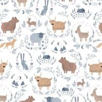 Stay Wild Wildlings Animal Fox Highland Cow Bear Sheep Goat Hare Cabin Dear Stella Cotton Fabric