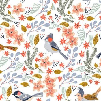 Let It Snow Bird Wreath Floral Winter Birds Chickadee Dear Stella Cotton Fabric