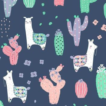 No Probllama Llamas and Cactus Dutch Llama Cacti Navy Cotton Fabric