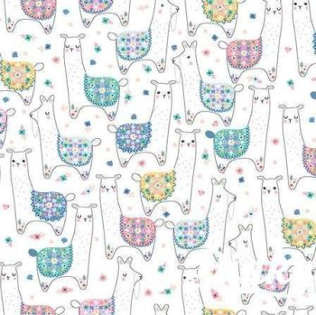 No Probllama Llama Land White Llamas Cotton Fabric