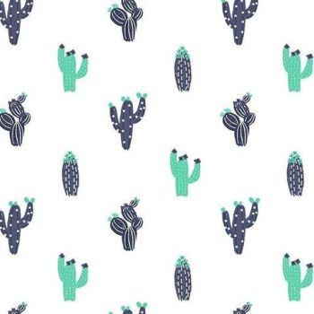 No Probllama Cacti White Cactus Cotton Fabric