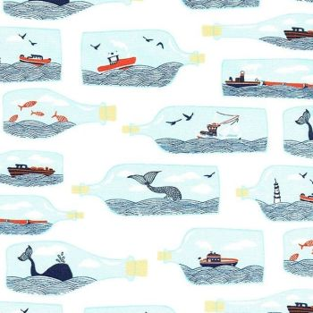 I Don't Give a Ship! Hook Line and Sinker Ship in a Bottle Ships Whales Nautical Boats Dear Stella Cotton Fabric