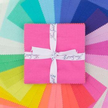 Tula Pink Designer Solids Rainbow Plain Colours Coordinates 42 Precut 5 inch Squares Cotton Fabric Charm Pack