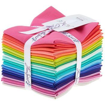 Tula Pink Designer Solids Rainbow Plain Colours Blenders Coordinates 22 Fat Quarter Bundle Cotton Fabric Cloth Stack Full Collection