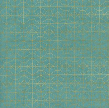 Akoma Geo Grid Sky Metallic Gold Geometric Turquoise Cotton Fabric by Cotton + Steel