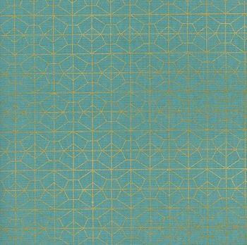 Akoma Geo Grid Sky Metallic Gold Geometric Turquoise Cotton Fabric by Cotton + Steel