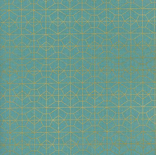 Akoma Geo Grid Sky Metallic Gold Geometric Turquoise Cotton Fabric by Cotto