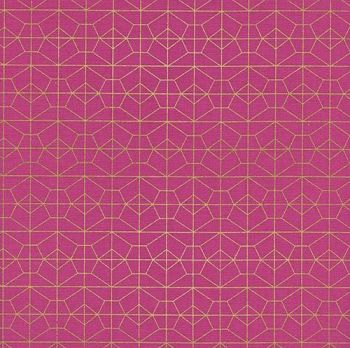 Akoma Geo Grid Fuchsia Metallic Gold Geometric Pink Cotton Fabric by Cotton + Steel