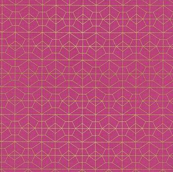 Akoma Geo Grid Fuchsia Metallic Gold Geometric Pink Cotton Fabric by Cotton + Steel
