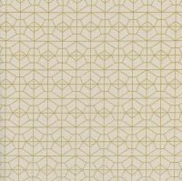 Akoma Geo Grid Natural Metallic Gold Geometric Cream Cotton Fabric by Cotton + Steel