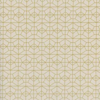 Akoma Geo Grid Natural Metallic Gold Geometric Cream Cotton Fabric by Cotton + Steel