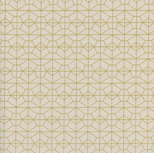 Akoma Geo Grid Natural Metallic Gold Geometric Cream Cotton Fabric by Cotto