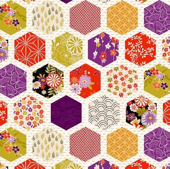 Kimono Hexagon Patch Metallic Gold Geometric Floral Cotton Fabric