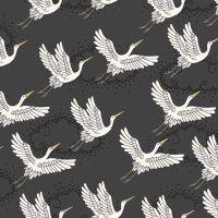 Kimono Cranes Grey Metallic Gold Japanese Crane Bird Flight Clouds Cotton Fabric