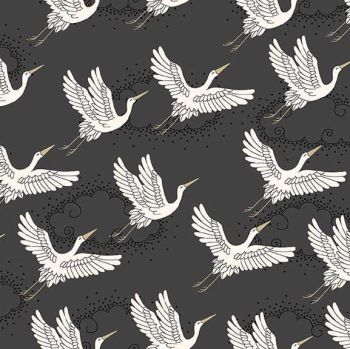 Kimono Cranes Grey Metallic Gold Japanese Crane Bird Flight Clouds Cotton Fabric