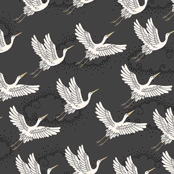 Kimono Cranes Grey Metallic Gold Japanese Crane Bird Flight Clouds Cotton F