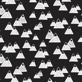Harvest Moon Mountains Black White Monochrome Mountain Dear Stella Cotton Fabric