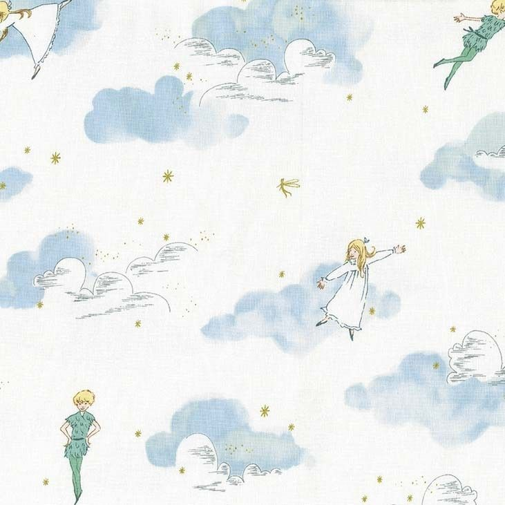 Peter Pan Peter and Wendy Cloud Sky Stars Gold Sarah Jane Nursery Cotton Fa