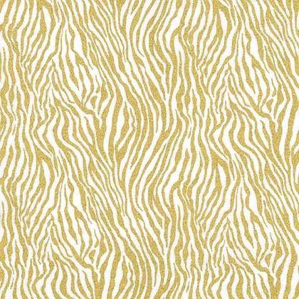 Mini Zebra Stripe Gold Metallic Safari Animal Print Gliiter Critters Cotton